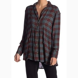Free People Womens All About The Feels Plaid Shirt
